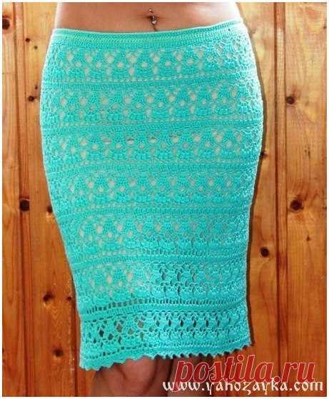 Юбка-карандаш крючком ажурным узором. Красивая юбка ...