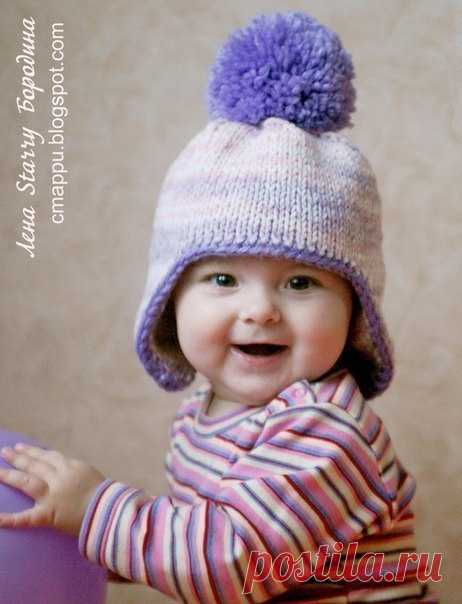 Теплая шапочка для малыша спицами (Автор: Лена Бородина)