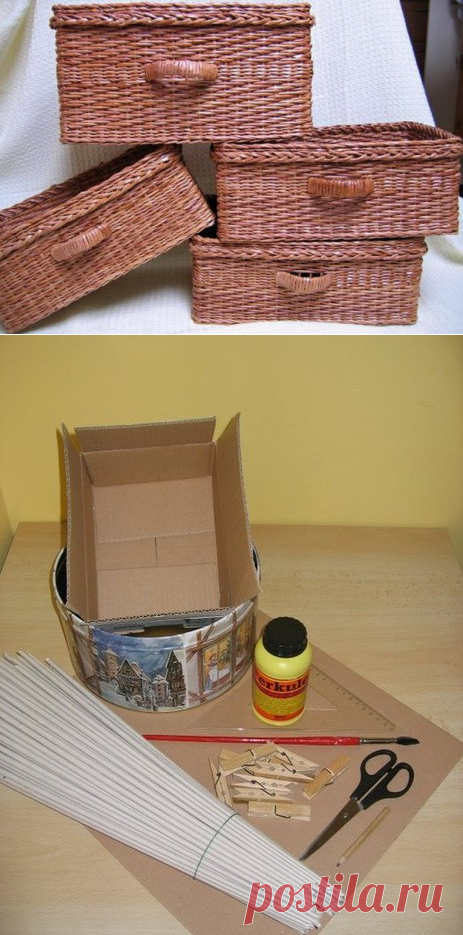 Простая корзинка: плетение из газетных трубочек для начинающих   33 Поделки   Яндекс Дзен