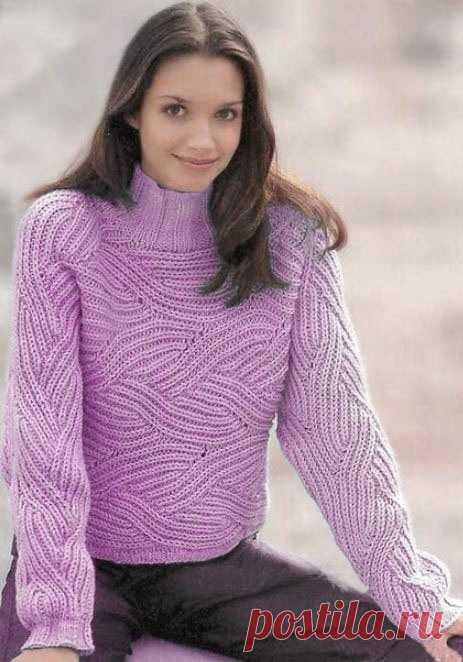 Модели пуловеров в технике «бриошь» выполненных спицами