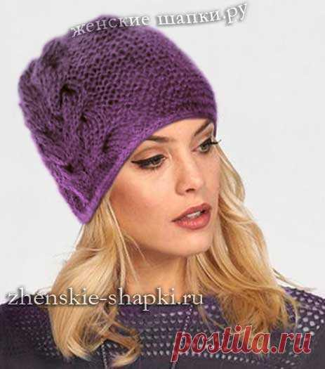 модная женская шапка спицами схема женской шапки с косой вязаные