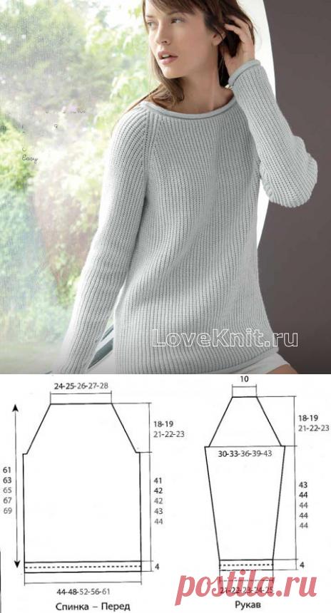 удлиненный серый пуловер с рукавом реглан схема спицами люблю