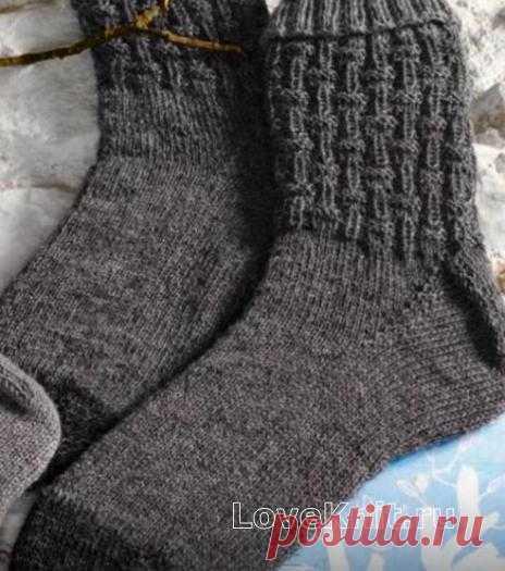 Грубые мужские носки с узором схема спицами » Люблю Вязать