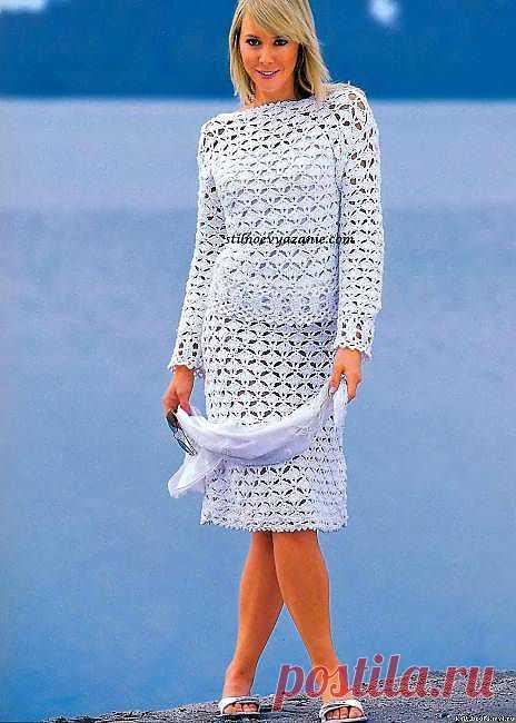 Белый костюм - вязание.