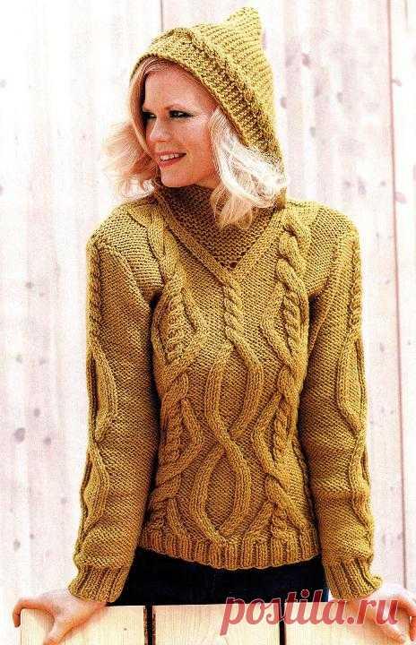 Рельефный пуловер с капюшоном | Шкатулочка для рукодельниц