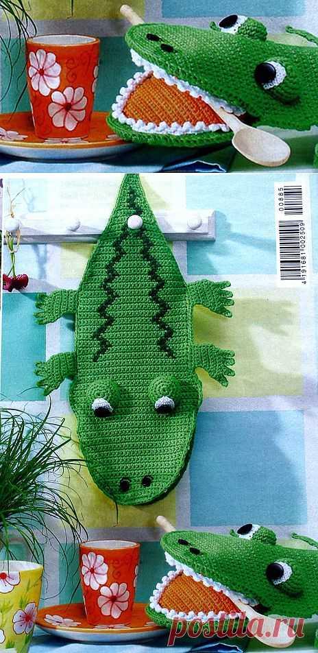 """Прихватка """"Крокодил"""". Подробное описание."""