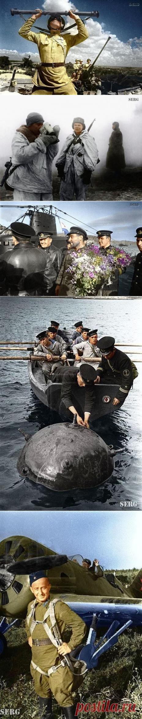 Цветные фотографии советских солдат во время Великой Отечественной / Назад в СССР / Back in USSR