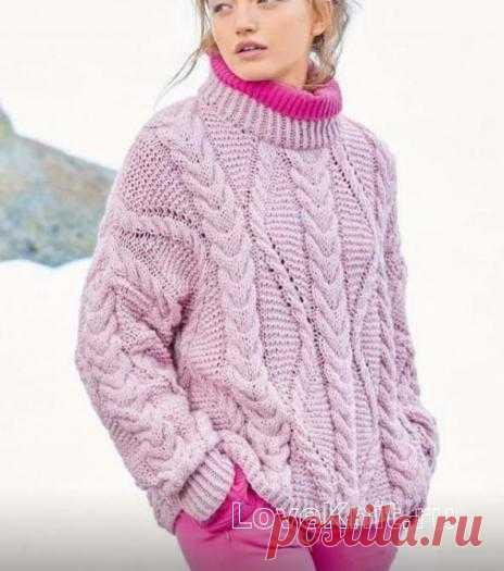 Пуловер оверсайз с узором из «кос» схема крючком » Люблю Вязать