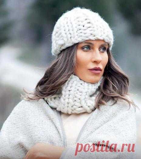 Комплект из шапочки и шарфа-снуда резинкой схема спицами » Люблю Вязать
