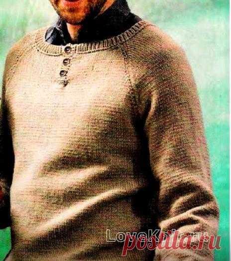 Мужской пуловер с пуговками схема спицами » Люблю Вязать