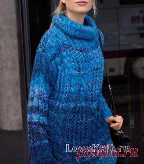 Меланжевый удлиненный свитер оверсайз схема спицами