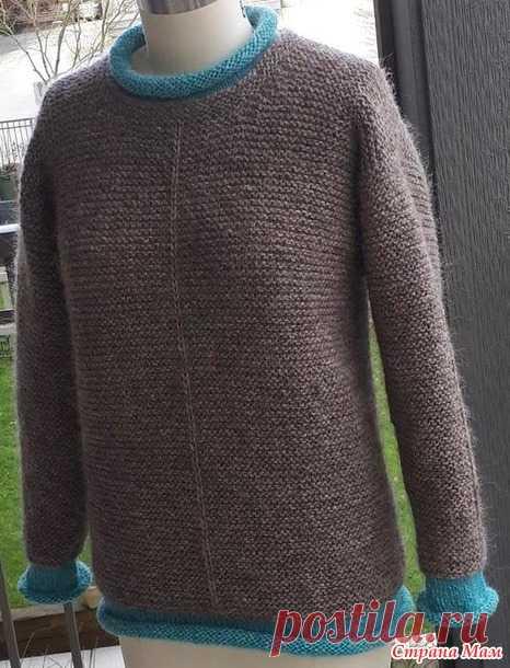 Пуловер с контрастными планками