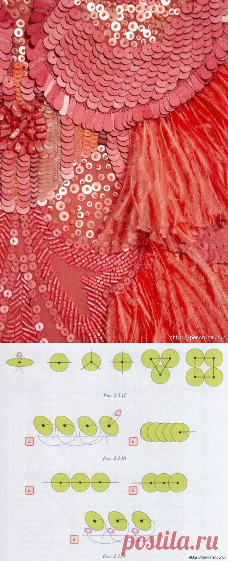 Как вышивать пайетками- основные швы и идеи