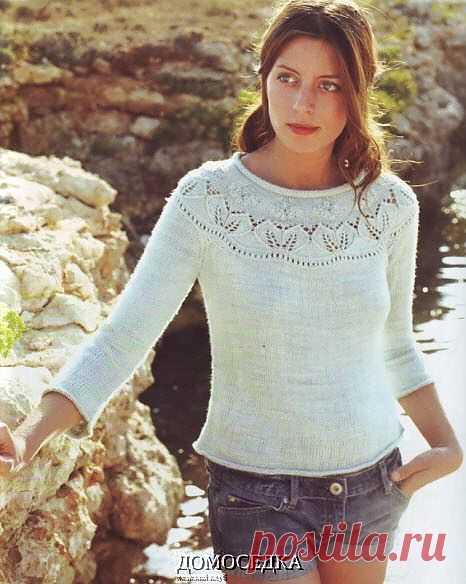Пуловер с круглой кокеткой | ДОМОСЕДКА