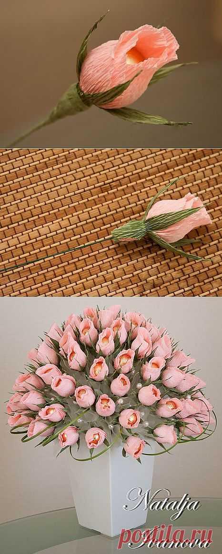 Бутон розы из конфет. Мастер-класс. - Цветы из конфет - Поделки из конфет - Каталог статей - Рукодел.TV