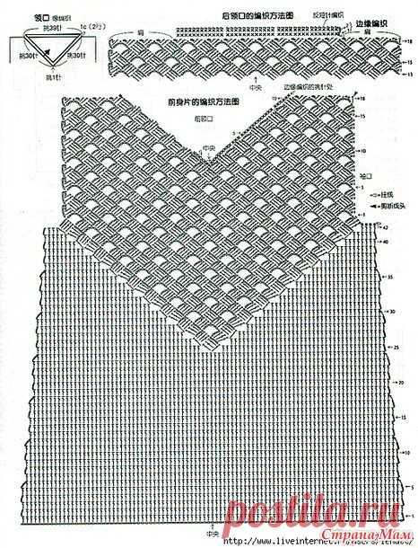 Меланжевый пуловер с треугольной кокеткой другим узором. Крючок. - ВЯЗАНАЯ МОДА+ ДЛЯ НЕМОДЕЛЬНЫХ ДАМ - Страна Мам