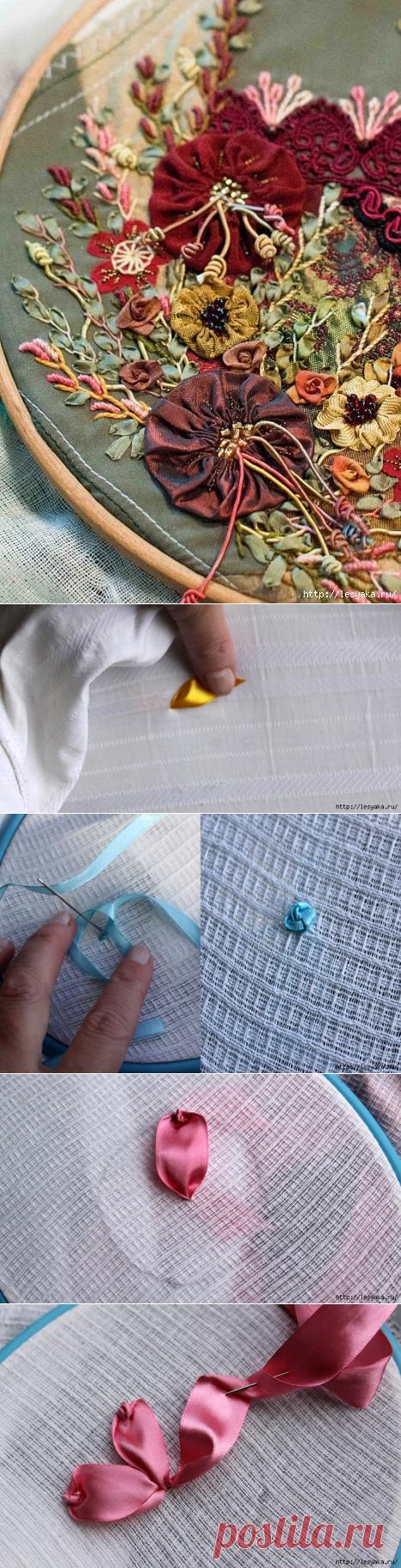 Вышивка атласными лентами: секреты вышивки + мастер-классы