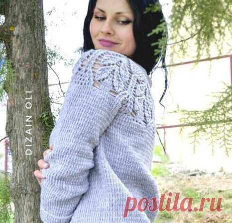 свитер с ажурной кокеткой реглан сверху вязание крючком журнал