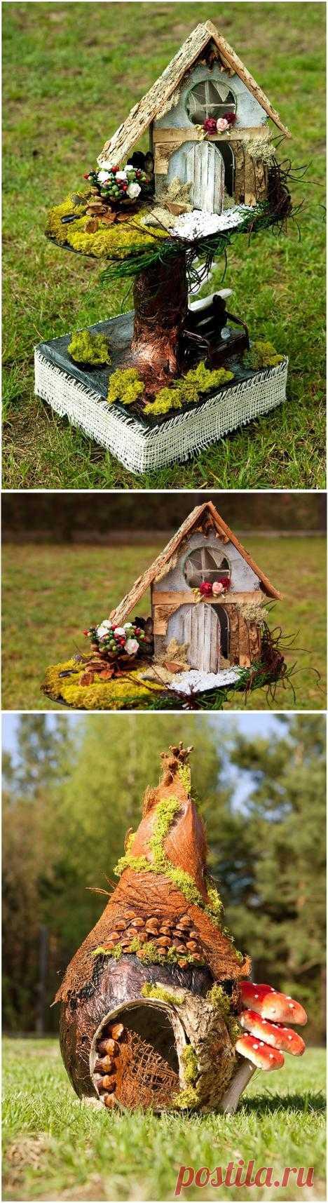 Декоративные домики из природных материалов.