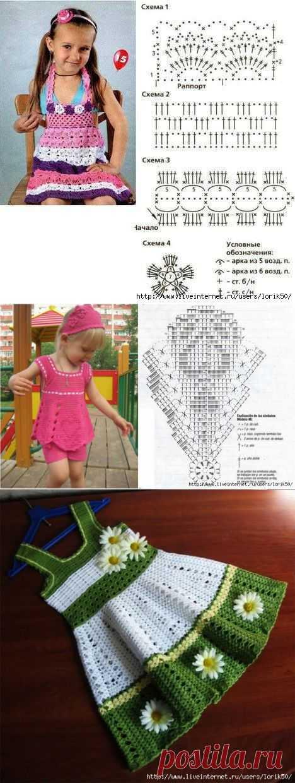 Летние детские платья крючком.
