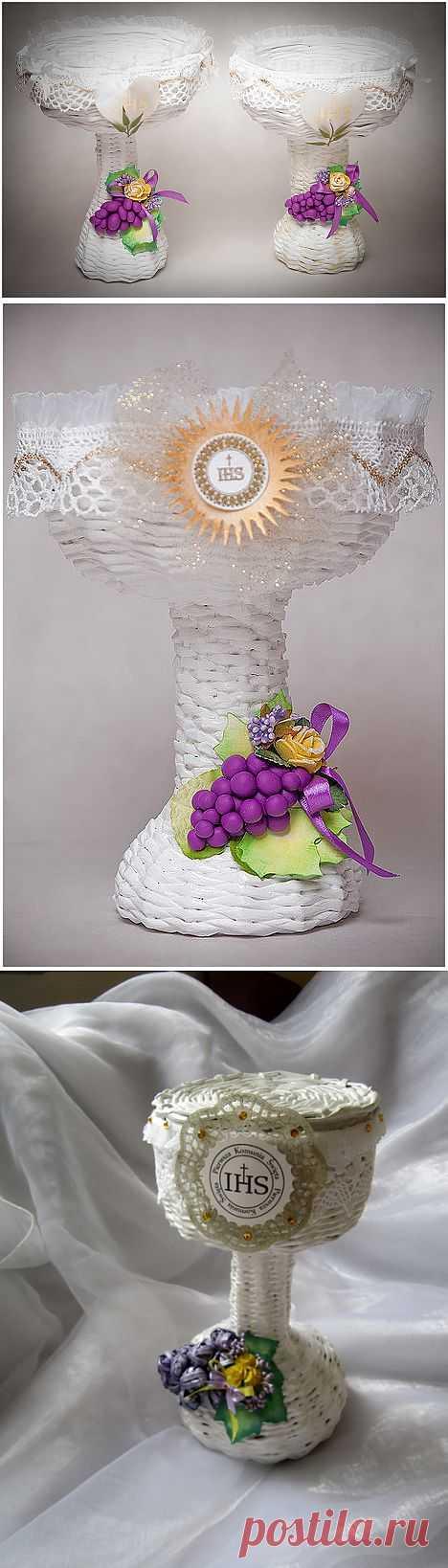 Плетение из газет. ЗАМЕЧАТЕЛЬНАЯ ВАЗОЧКА с виноградом