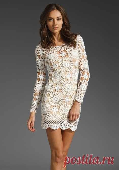 белое платье крючком схемы белое кружевное платье крючком