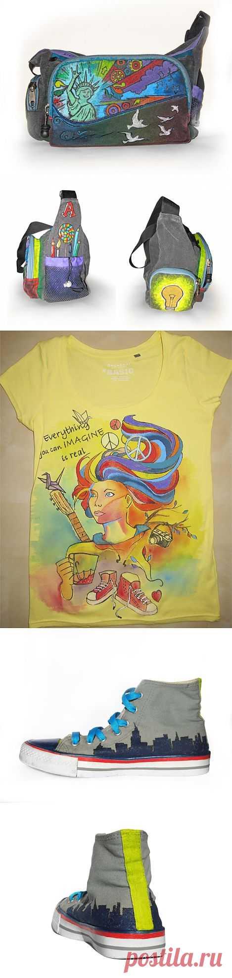 Роспись сумки, футболки и кед / Рисунки и надписи / Модный сайт о стильной переделке одежды и интерьера