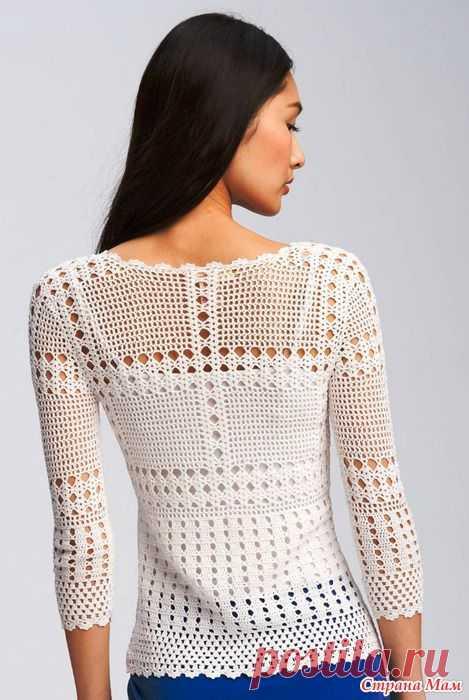 обалденный пуловер с осинки все в ажуре вязание крючком