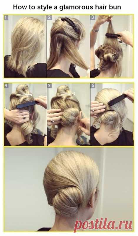 Симпатичный пучок из волос на бок