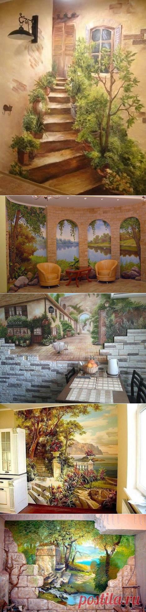 Роспись стен акриловыми красками.