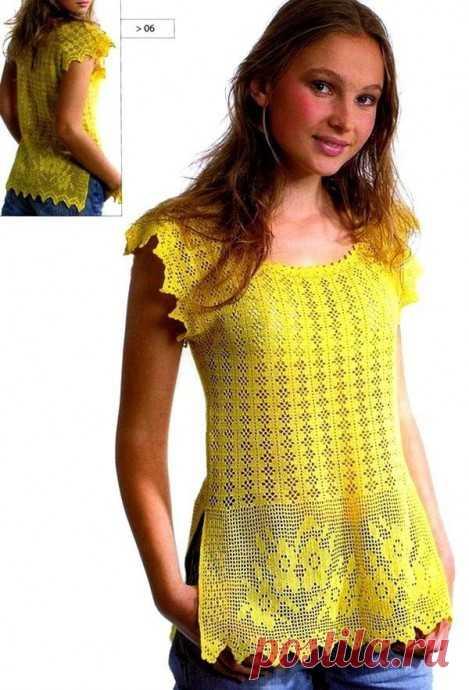 Яркая блузка в филейной технике