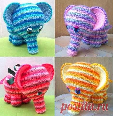 Милые вязаные слоники  (Вязаные игрушки)
