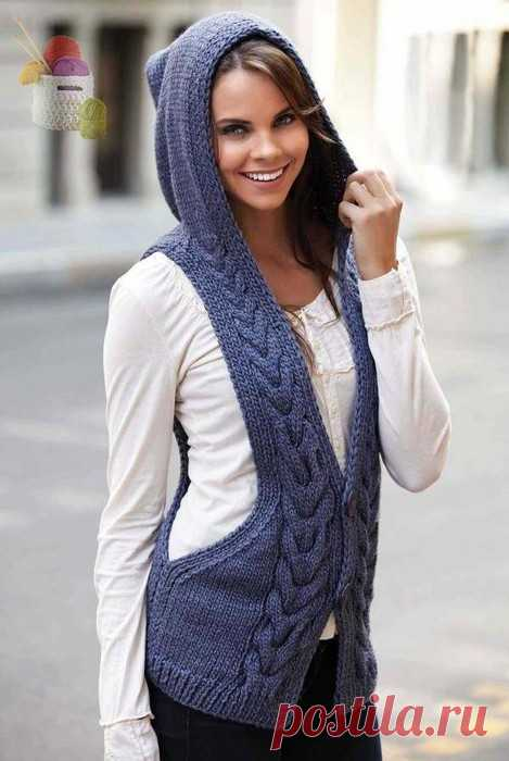 ЖИЛЕТ С КАПЮШОНОМ СПИЦАМИ. | Вязание для женщин спицами. Схемы вязания спицами