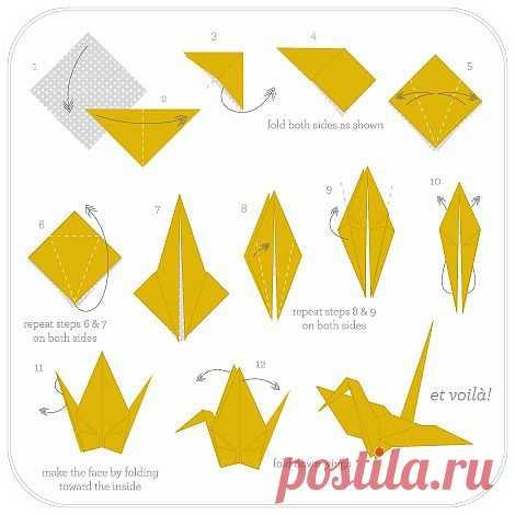 Идея научиться делать бумажные журавлики!