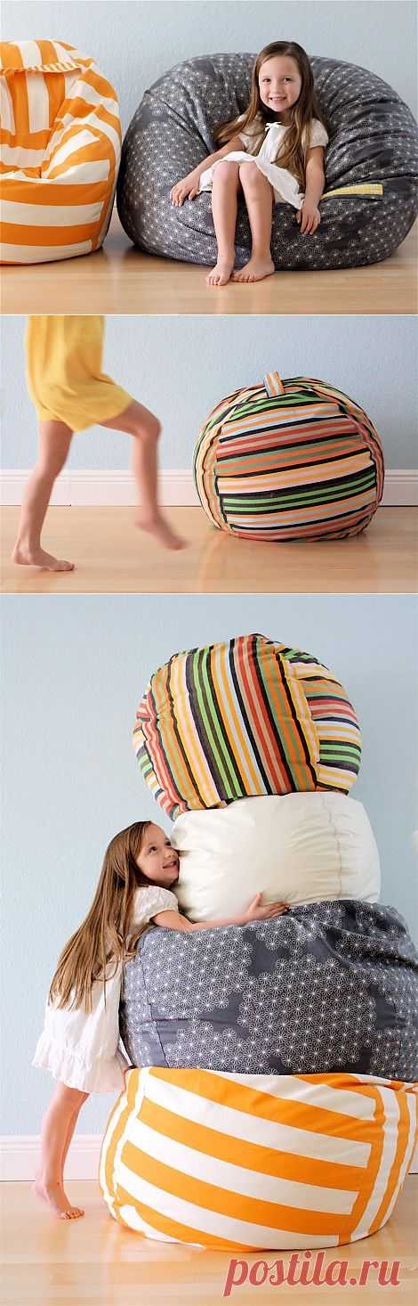 How to make a padded stool a bag with own hands for the nursery.