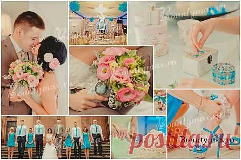 Яркий бирюзовый цвет + пастельный оттенки бежевого - получается великолепная винтажная свадьба)