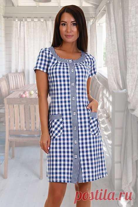 Халат женский №2715 кулирка (р-ры: 44-62) голубая клетка – купить за 890 руб. в интернет магазине Текстиль Всем