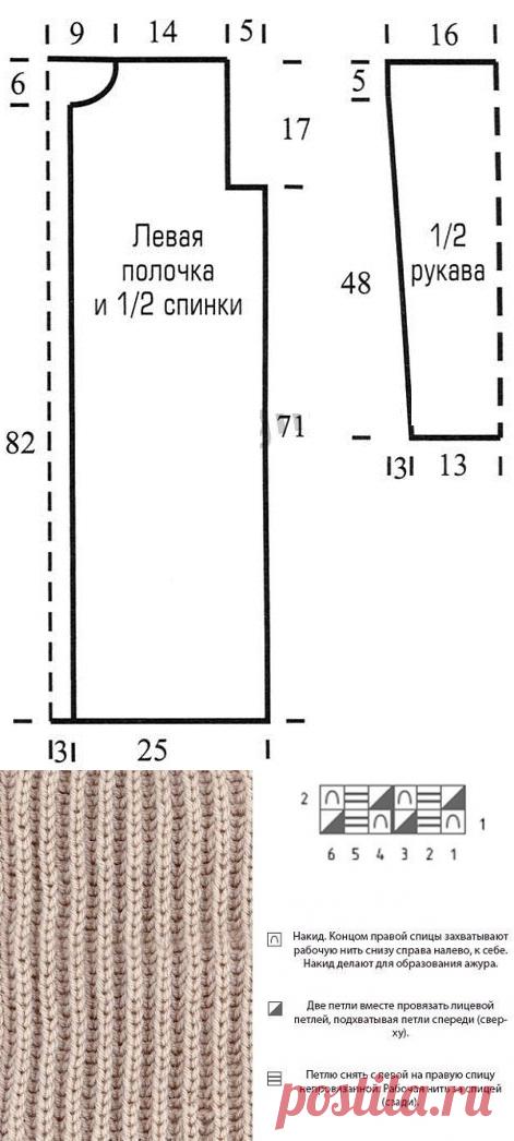 Кардиган английской резинкой спицами