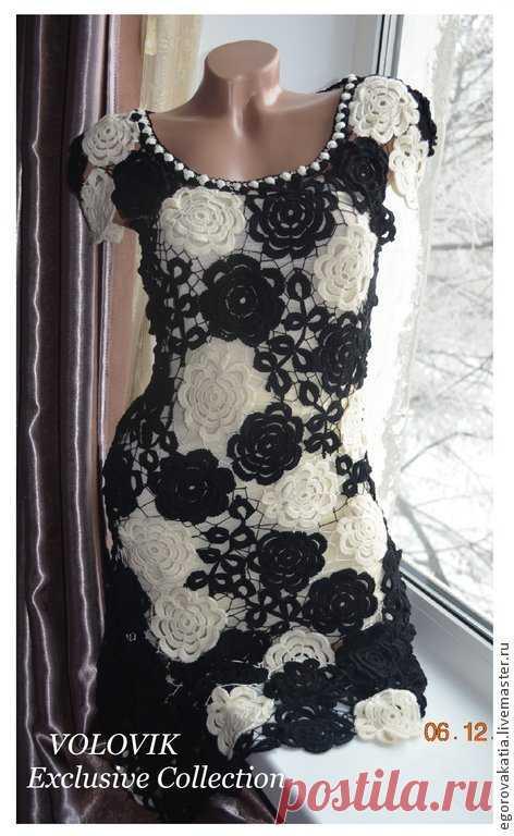 Платья ручной работы. Заказать Платье - black and white. Katerina. Ярмарка Мастеров. Платье, платье вечернее, вязанная одежда
