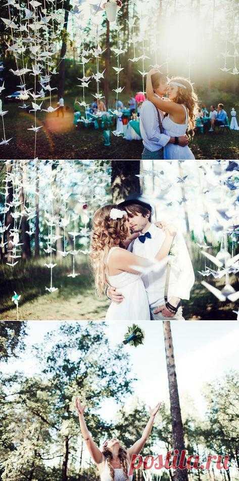 1000 бумажных журавликов: свадьба Кати и Феди - WeddyWood