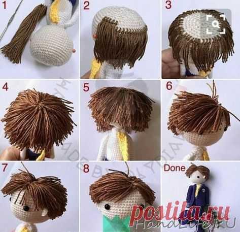 Como hacer los cabellos, para la muñeca vinculada por el gancho \/ Mi obra - la labor de punto