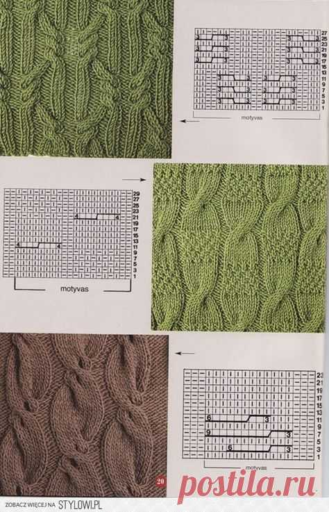 Вязание спицами - узоры косы -