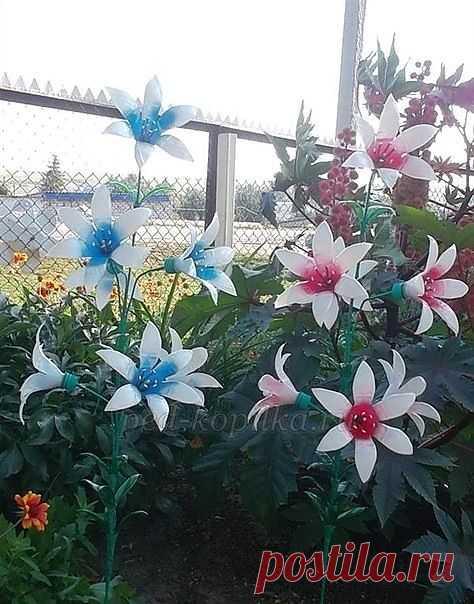 Украшаем сад цветами из пластиковых бутылок. Мастер-класс.