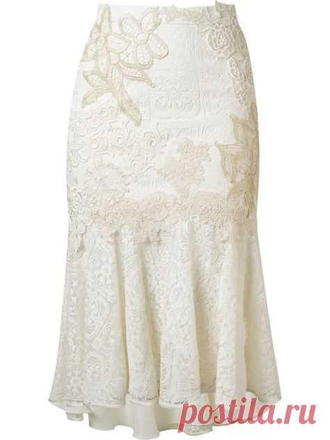 Martha Medeiros embroidered lace mix midi skirt
