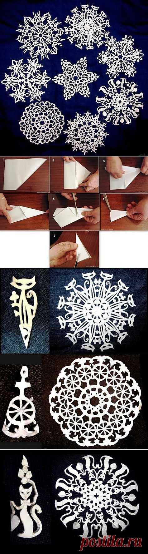 Самых оригинальные снежинки из бумаги.