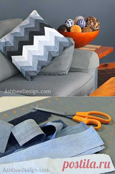 Замечательные подушки из старых джинсов. Мастер-класс.