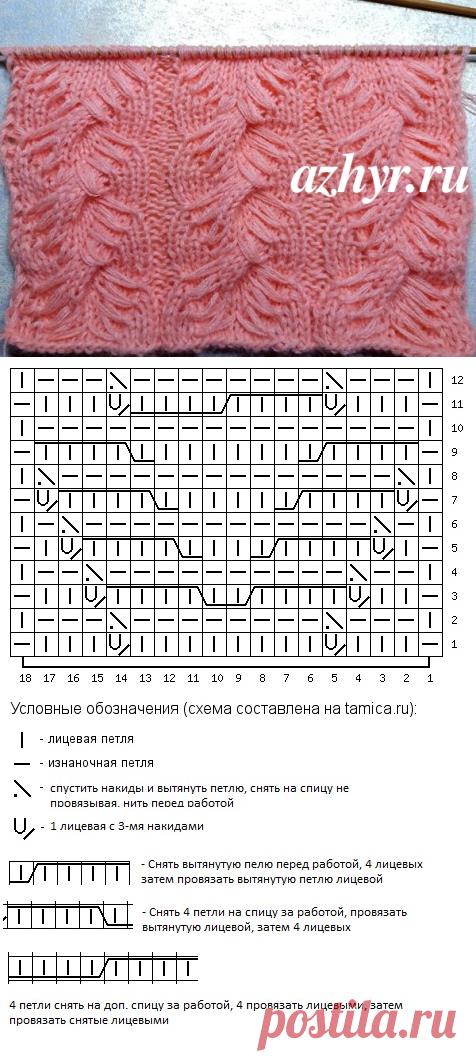 Узоры с вытянутыми петлями 12 узоров спицами схемы и описание