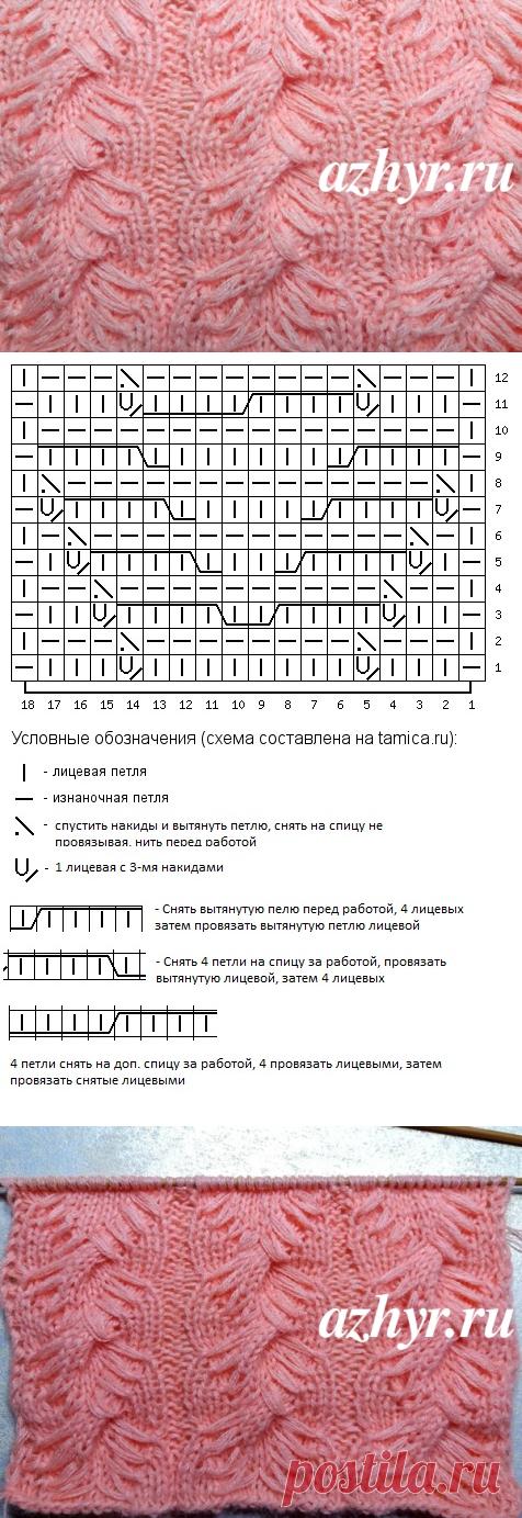 Узор коса с вытянутыми петлями - вязание спицами   АЖУР - схемы узоров