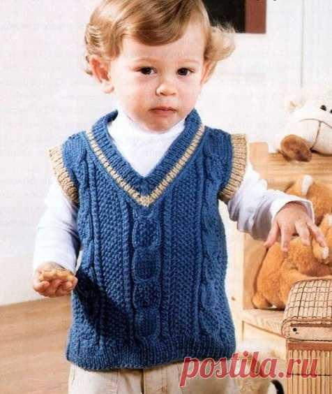 жилет для мальчика спицами вязание для детей постила