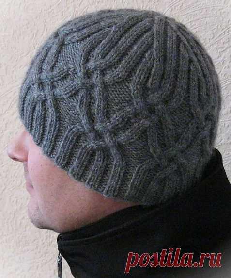 Мужская шапка спицами арановым узором - Колибри Красивая и стильная мужская шапка спицами от Татьяны Дмитриевой станет любимой вещью в зимнем гардер
